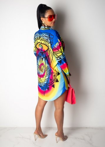 Colorful Tie Dyeing Print Mini Shirt Dress YYZ723
