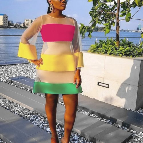 Summer Color Block Long Sleeves Fashion Dress YYZ725