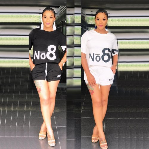 Black Letter Print T Shirts Elastic Shorts Sets YYZ633