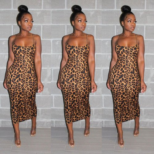 Sexy Strappy Leopard Print Long Dress SN3631