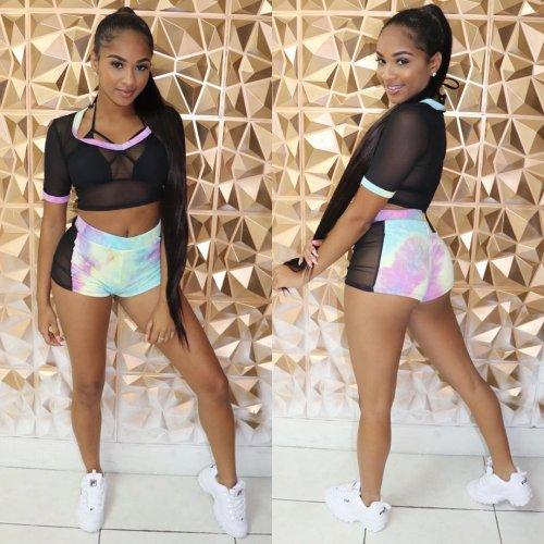 Black Mesh Crop Tops Tie Dyeing Elastic Shorts Sets LS6283