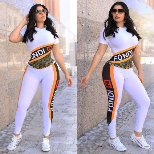 White Letter Print T Shirts Bodycon Pants Sets LS6282