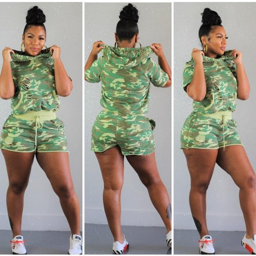 Camouflage Hoodie T Shirts Elastic Shorts Sports Sets QQ5113