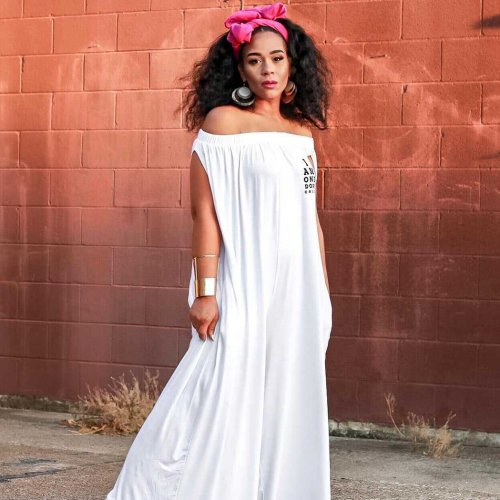White Oversize Off Shoulder Wide Leg Jumpsuits LS6179