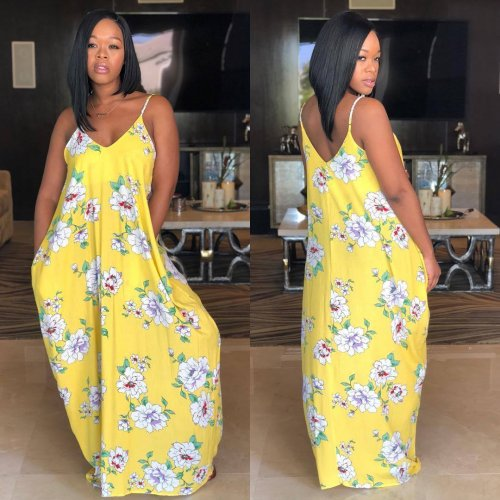 Floral Print Yellow Strippy Maxi Long Dress LS6167