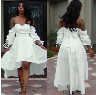 Fashion White Off Shoulder Overlay Party Dress N9149