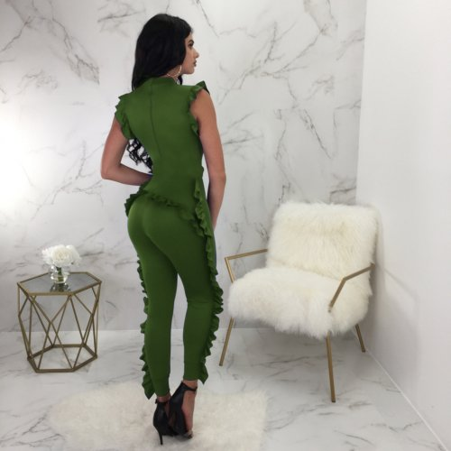 Green Solid Ruffle Sleeveless Bodycon Jumpsuits QQM3805