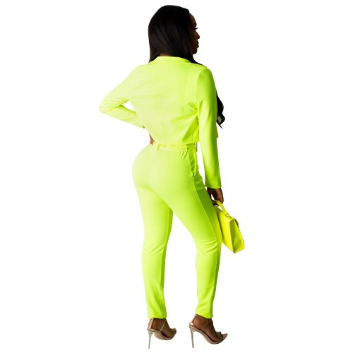 Fluorescent Green Elegant Pure Color Suits Casual Short Coat Pencil Pants R6213