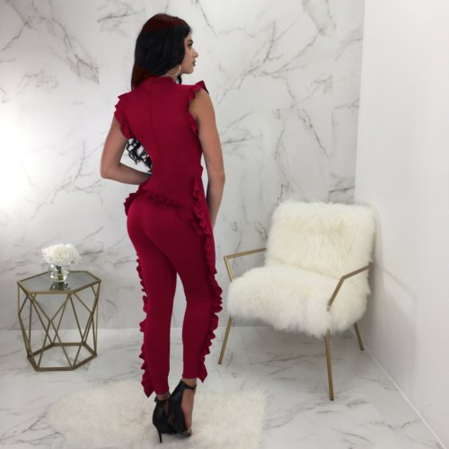 Wine Red Solid Ruffle Sleeveless Bodycon Jumpsuits QQM3805