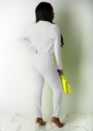 White Elegant Pure Color Suits Casual Short Coat Pencil Pants R6213