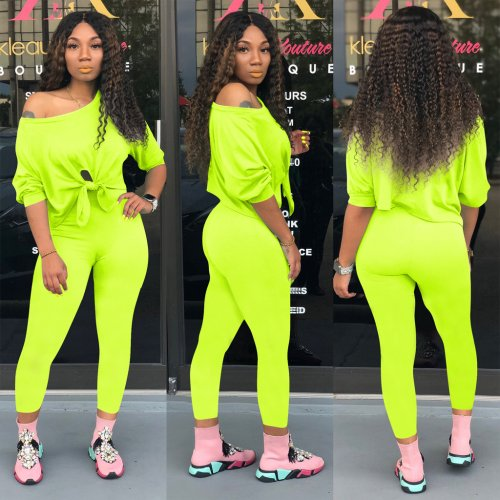Fluorescent Green Autumn Plain Color Oblique Shoulder Long Outfits QQM3798