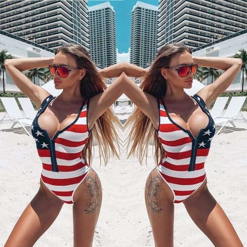 Striped Star Print Sexy One Piece Swimwear ML7222