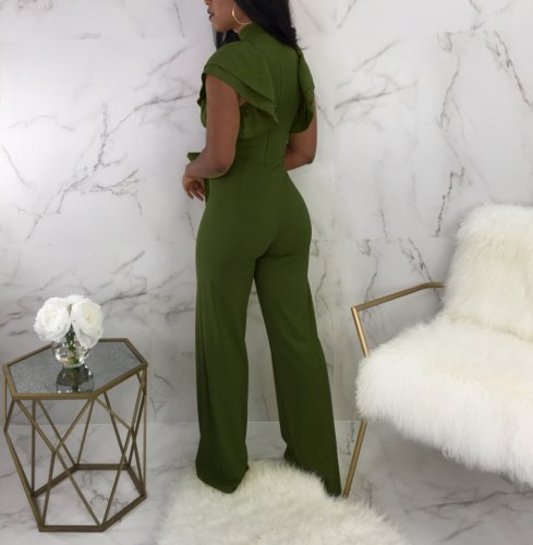 Army Green Ladies Ruffle Sleeves Mid Waist Wide Leg Jumpsuit QQM3619