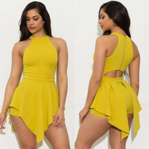 Yellow Pure Color Sleeveless Irregular Romper Shorts HY5083