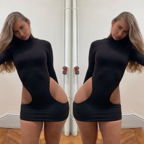 Sexy Black Hollow Out Long Sleeves Skinny Mini Dress NK007