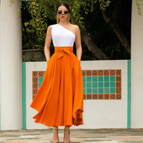 Orange All-Match Comfy Solid Color Leisure Skirt For Ladies LY5072