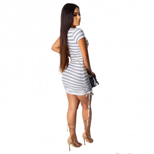 Blue Wholesale Price Stripe Round Collar Bodycon Dress SDD9163