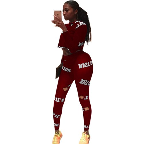 Red Sport Long Clothes Letters Printing Tight 2 Pieces Outfits AL004