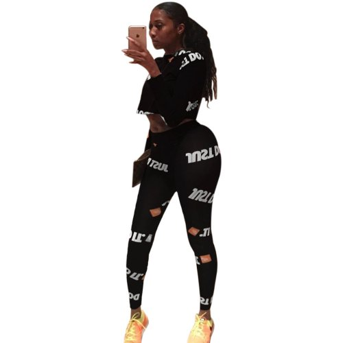 Black Sport Long Clothes Letters Printing Tight 2 Pieces Outfits AL004