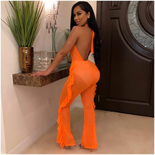 Orange Swimming Solid Color Ruffle Thin Jumpsuit With Panty ORY5124