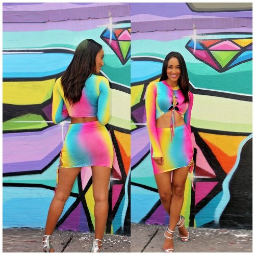 Trendy Iridescent Bandage Skirt Suits Crop Top Wrap Dress ORY5051