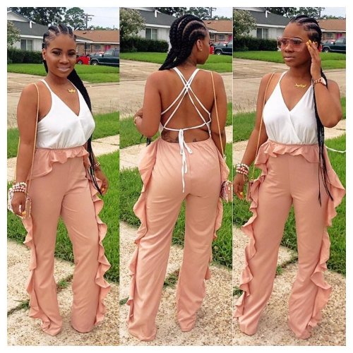 White Strappy Backless Tops Ruffle Wide Leg Pants Jumpsuits ORY5132