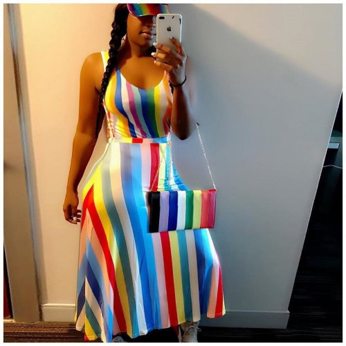 Cheap Iridescent Stripe Tank Style Round Neck Long Dresses ORY5033