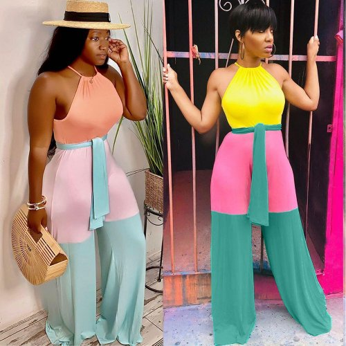 Light Blue Hot Color Block Spaghetti Strap Wide Leg Jumpsuit ORY5123