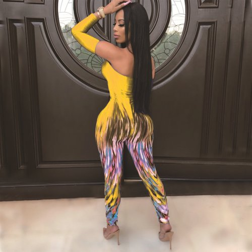 Yellow Irregular Printing Strapless Bodycon Jumpsuit For Sale AMM8176