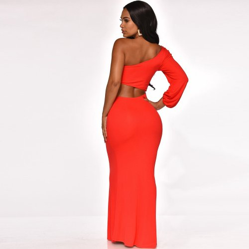 Red Sexy One Shoulder Hollow Out Long Dress XZ3267