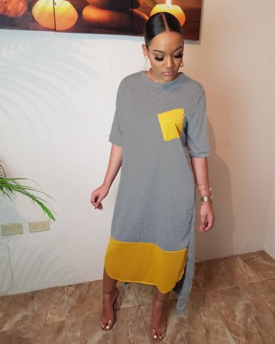 Wholesale Casual Color Block Ankle T Shirt Dress DN8266