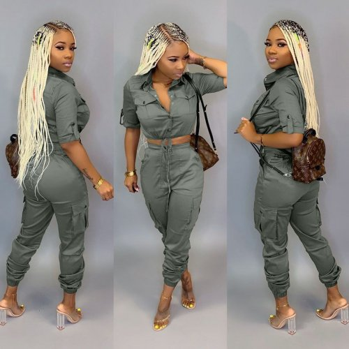 Good Quality Trendy Solid Cargo Pants Sets DN8286