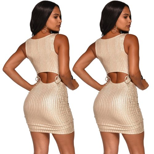 Apricot Solid Sexy Strappy Bodycon Mini Dress XZ3263