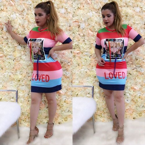 Multicolor Patchwork Mini T Shirt Dress Cheap Clothing F8086