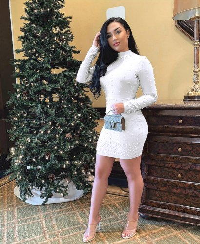 White Solid Beading Long Sleeves Bodycon Dress E8250