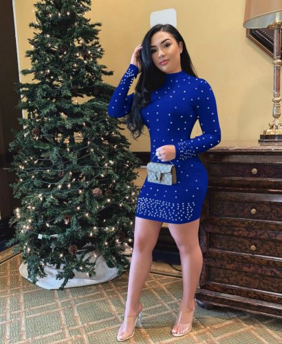Navy Blue Solid Beading Long Sleeves Bodycon Dress E8250