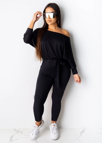 Black Solid Fashion Ladies Bodycon Long Sleeves Jumpsuits AA5097