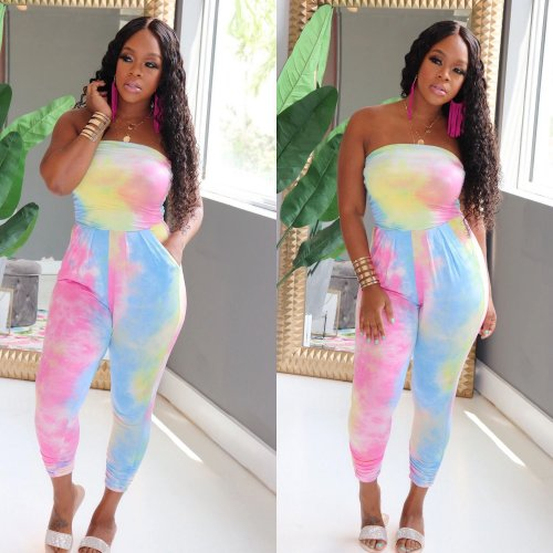 Blue Colorful Tie Dyeing Print Strapless Bodycon Jumpsuits AA5098