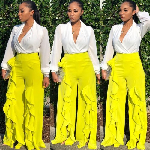Yellow High Waist Ruffle Wide Leg Casual Trousers AA5095