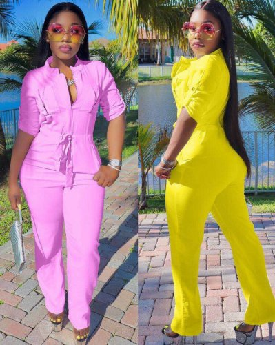 Pink New Design Mid Waist Solid Jumpsuit With Pockets ZH5095