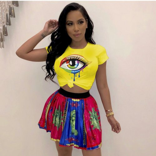 Yellow Cheap Eyes Pattern Plus Size 4 Colors Slim T-Shirt LMM8062