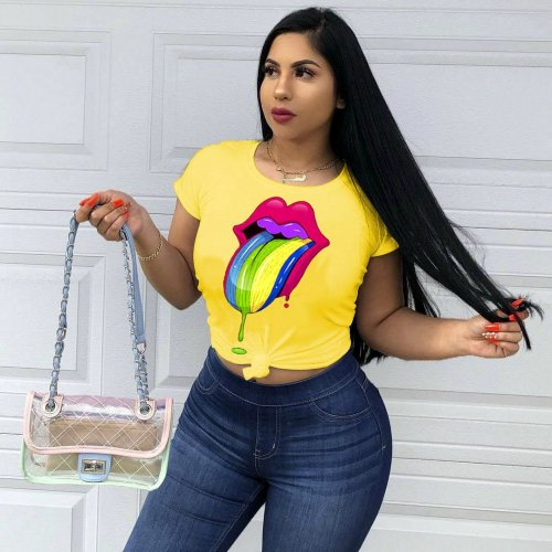 Yellow Wholesale Price Casual 4 Colors Women T-Shirt LMM8053