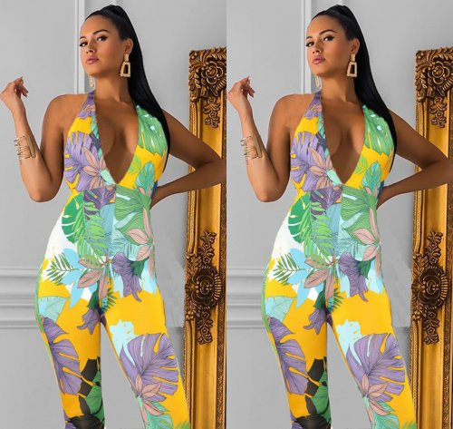 Colorful Flower Print Halter Neck Bodycon Jumpsuits LMM8072