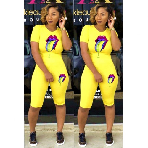 Yellow New Arrival Slim Bodycon Comfy Short Suits LMM8056