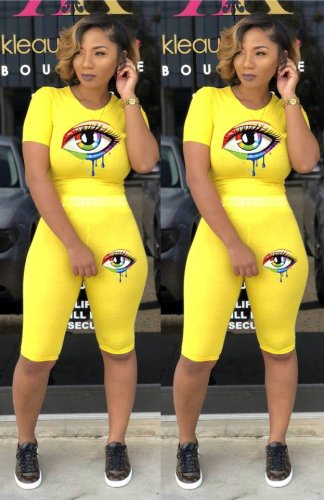 Yellow Eyes Pirnt New Arrival Slim Bodycon Comfy Short Suits