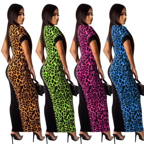 Rose Red Fashion Leopard Printing Patchwork Ankle Length Dress QQM3834