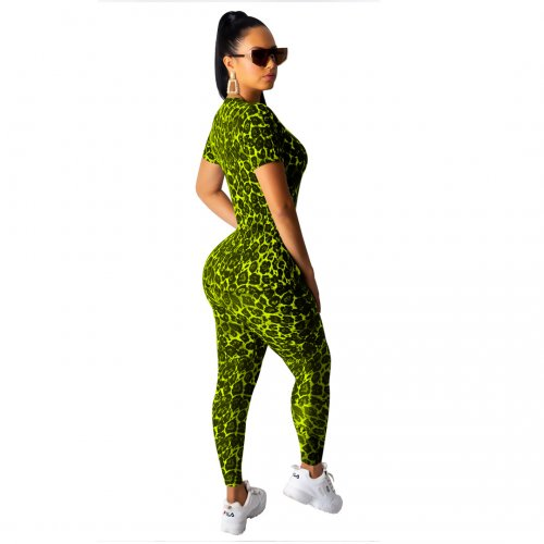 Fluorescent Green Leopard Print Hot Outfits Short Sleeves T Shirt Slinky Pants SY8380