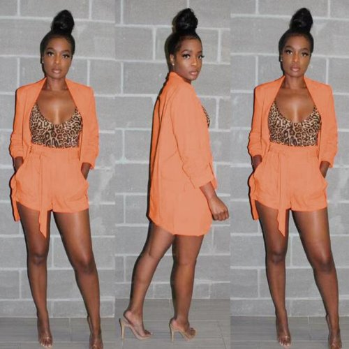Elegant Orange Solid Office Lady Suits With Shorts BN9193