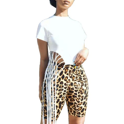 White Solid Color Tassel T Shirt Leopard Printing Bodycon Shorts BN9195