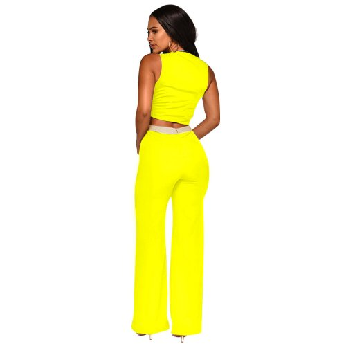 Yellow Color Block Wrap Crop Tops Casual Pants Sets XZ3286